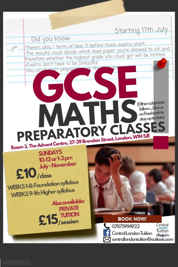 CGSE Maths Tutorial Poster