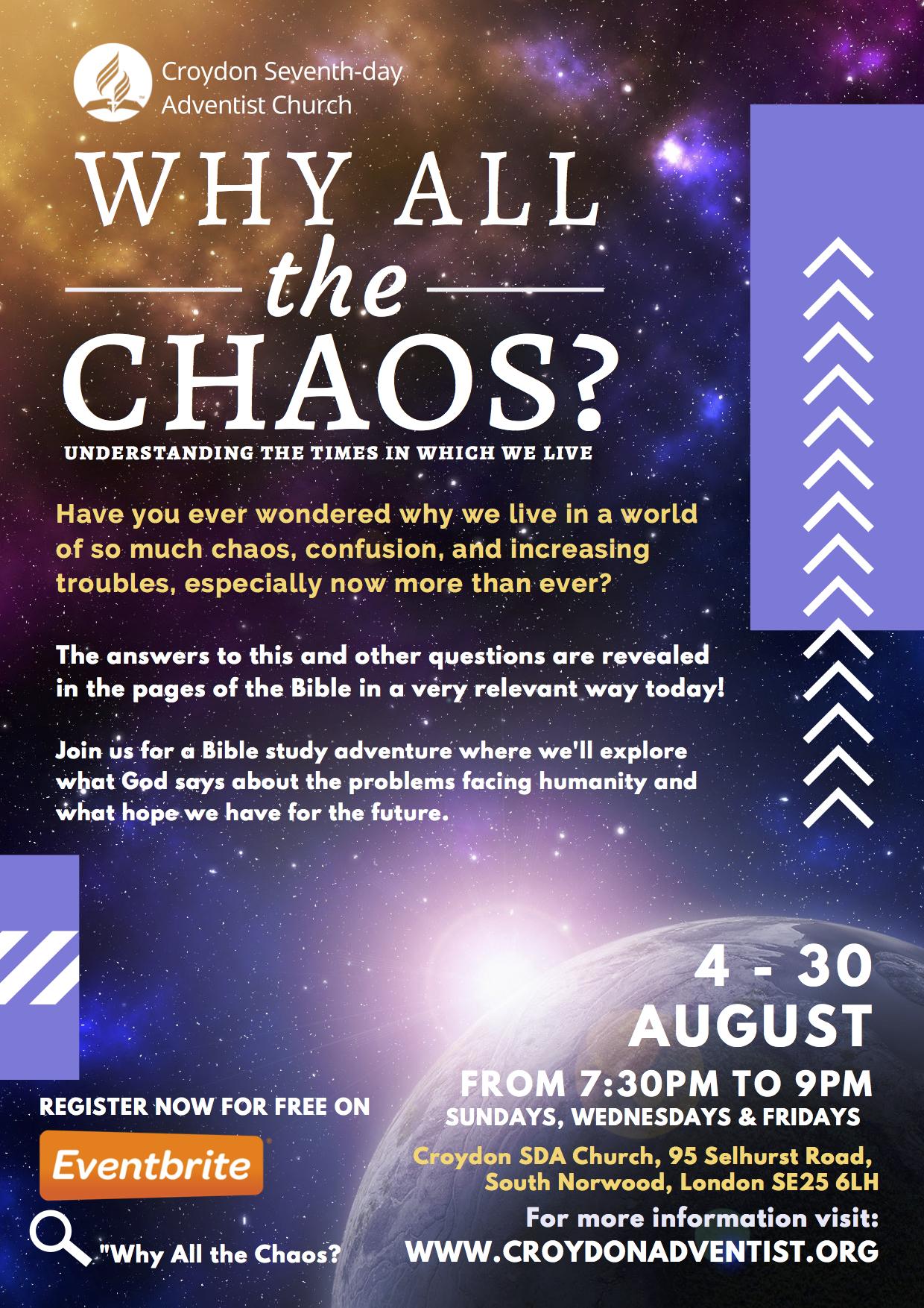 Why All the Chaos? Revelation Seminar – Croydon Seventh-day