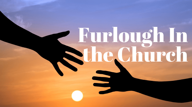 Two Hands reaching to each other against a sunset background. Title Furlough in the Church in Bold
