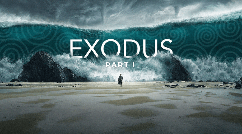 Man on desert towards massive wave with the word Exodus in the centre