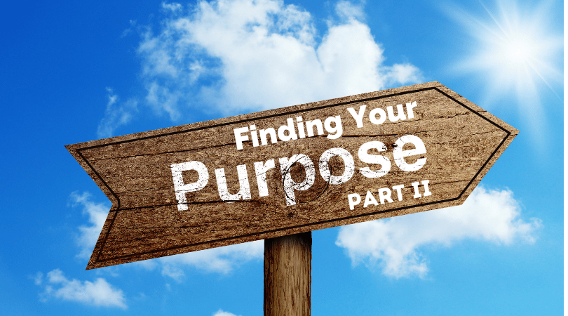Brown signpost with title, Finding Your Purpose Part Two against a cloudy background